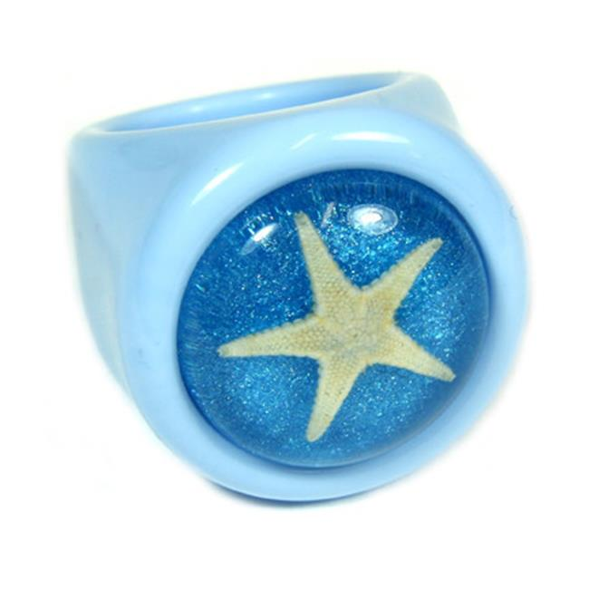 ED SPELDY EAST OR031-6 Ring  Starfish  Blue with Blue Background  Size 6