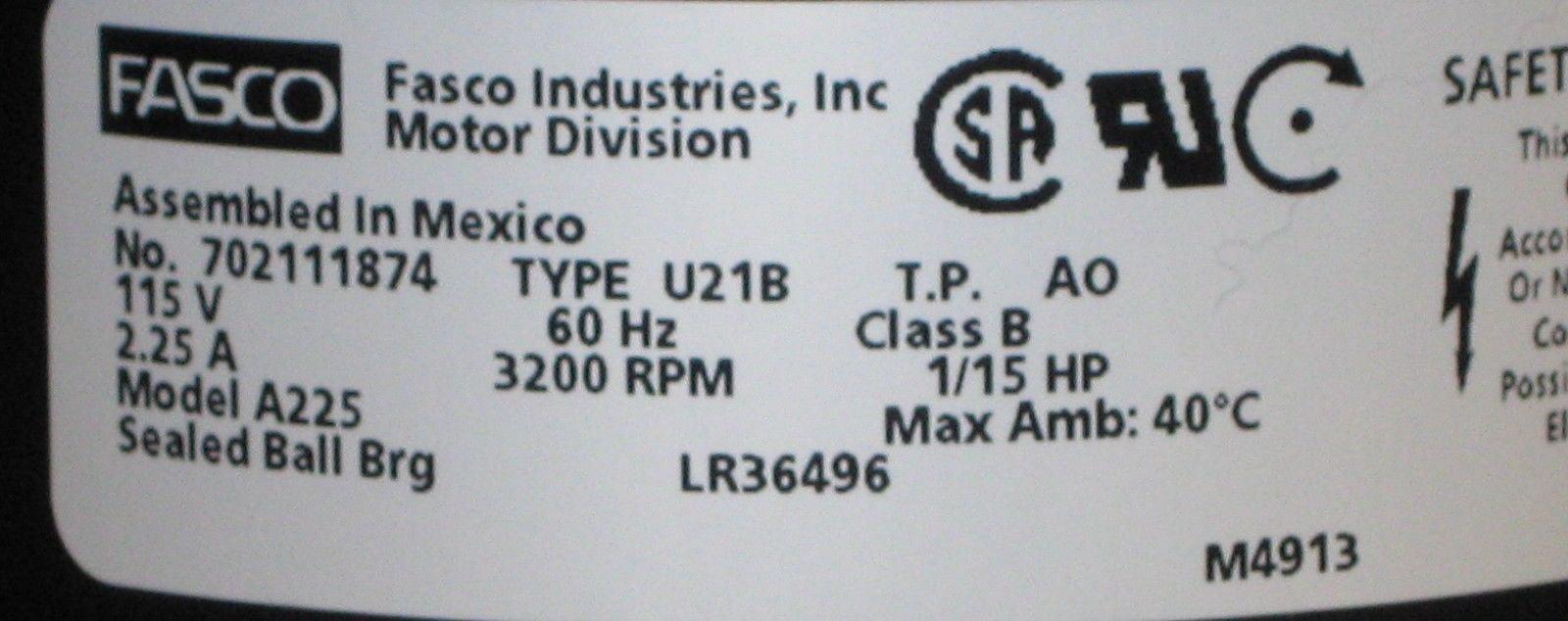 A225 Fasco Furnace Motor for York 7021-11577/S 024-34558-000 024-32057