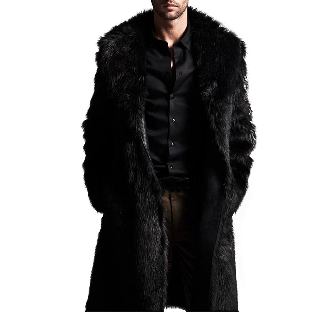 Binmer Mens Warm Plus Thickening Long Coat Jacket Faux Fu...