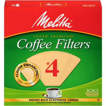 Melitta #4 Natural Brown Cone Coffee Filters, 100 Ct