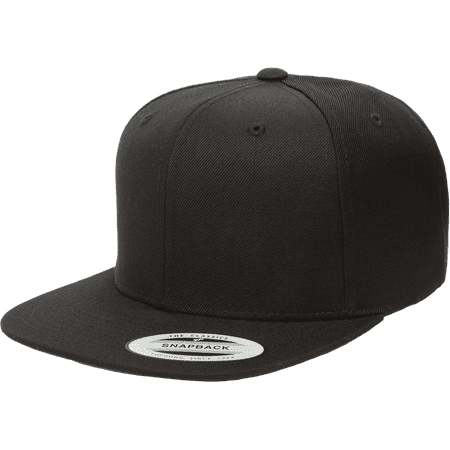 The Hat Pros Snapbacks Flexfit Pro-Style Snapback Hats w/ Green Underbill 6089M (Black) (Mens Strapback Hats)