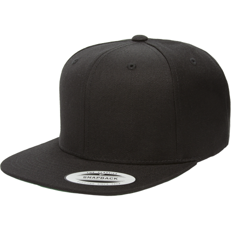 The Hat Pros Snapbacks Flexfit Pro-Style Snapback Hats w/ Green Underbill 6089M (Black) - Gondolier Hat