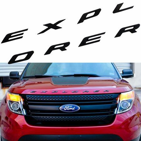 Xotic Tech 1 Set Sporty Matte Black ABS Front Hood Emblem 3D Letters EXPLORER Stickers Fit Ford 2011 - 2017