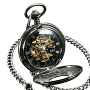 ESS Mechanical Pocket Watch Roman Numberals Stainless Steel White Hands  Mens