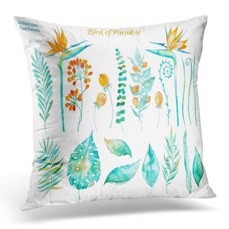 ARHOME Floral Colorful Collection with Tropical Leaves and Flowers Strelitzia Drawing Watercolor of for Your Pillows case 20x20 Inches Home Decor Sofa Cushion Cover ()