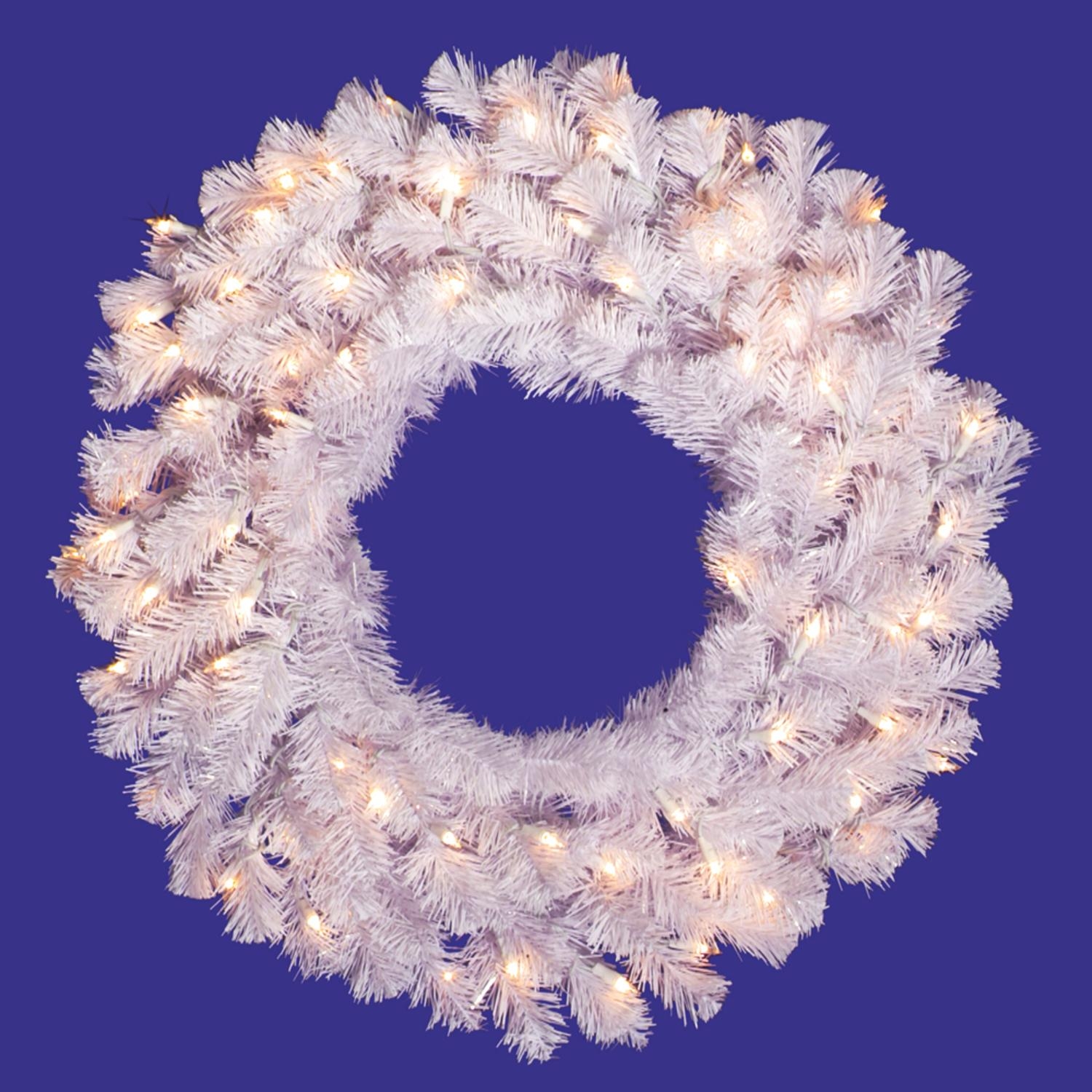 "24"" Pre-Lit Crystal White Spruce Artificial Christmas Wreath - Clear Lights"