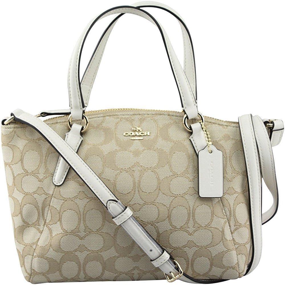 coach f57830 outline signature mini kelsey crossbody satchel bag light khaki/chalk