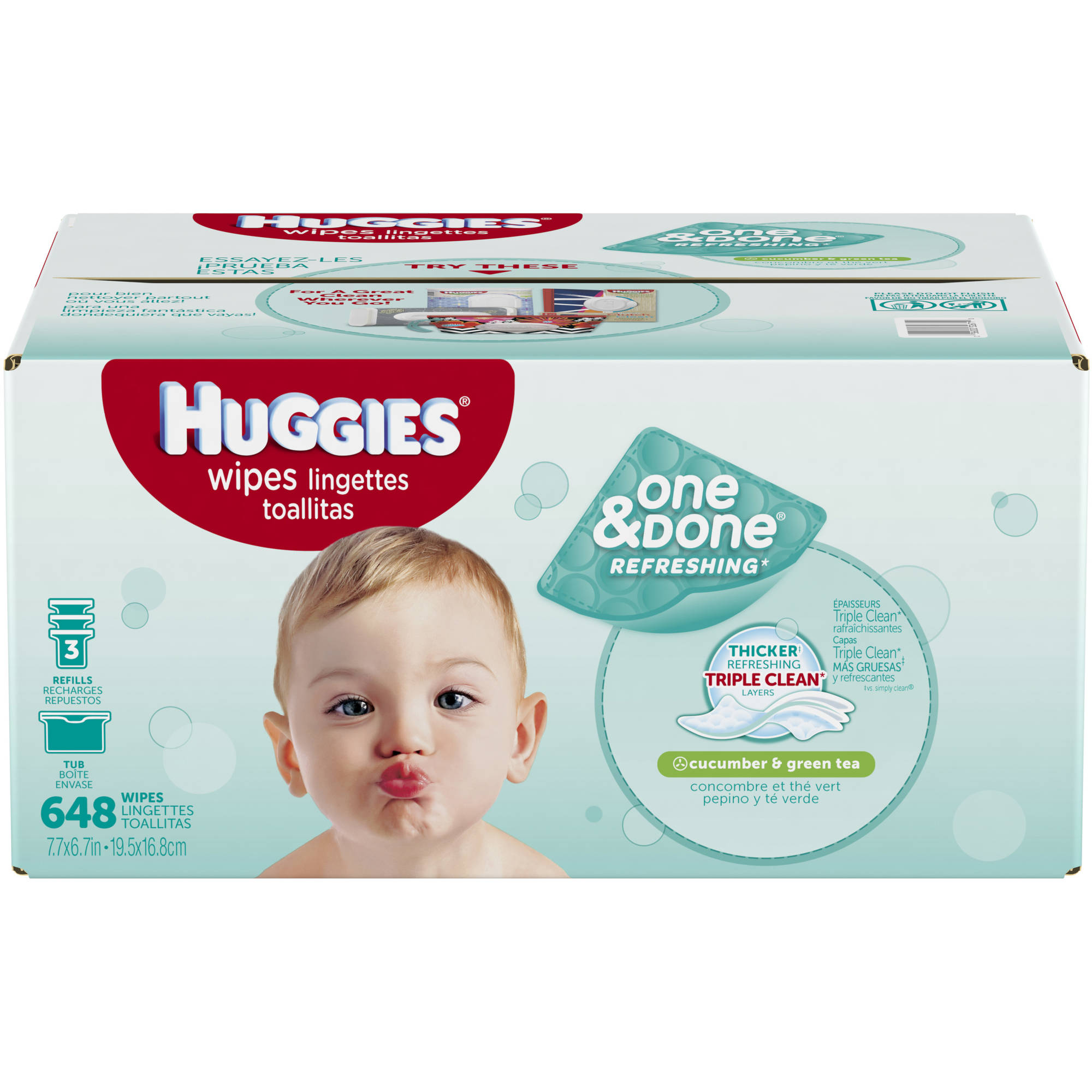 HUGGIES One & Done Refreshing Baby Wipes Refills, Cucumber and Green Tea, 648 Sheets