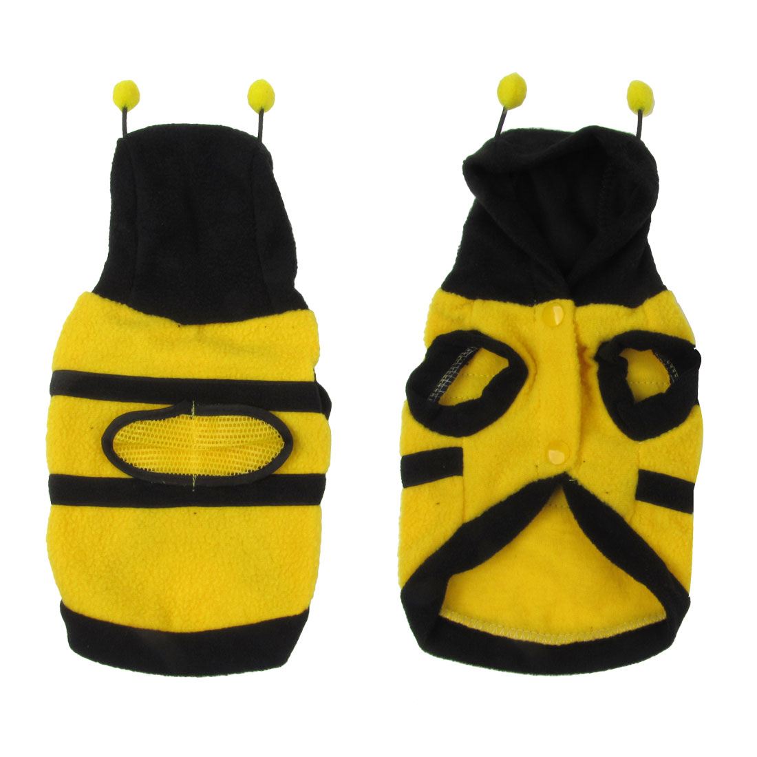 Unique Bargains Single Breasted Bee Shaped Hooded Pet Dog Coat Jacket Yellow Black Size S