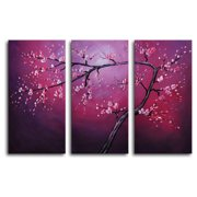 My Art Outlet Pink on Crimson 3 Piece Painting Print on Canvas Set