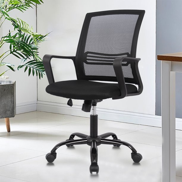 YangMing 250lbs Ergonomic Office Chair Mesh Desk Chair Task Computer Chair Adjustable Stool Back Support Modern Executive Rolling Swivel Chair for Women&Men, Black