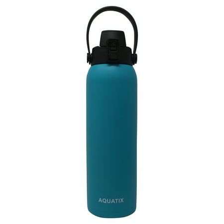 New Aquatix (Turquoise, 32 Ounce) Pure Stainless Steel Double Wall Vacuum Insulated Sports Water Bottle Convenient Flip Top Cap with Removable Strap Handle - Keeps Drink Cold 24 hr/Hot 6 (Removable Water)
