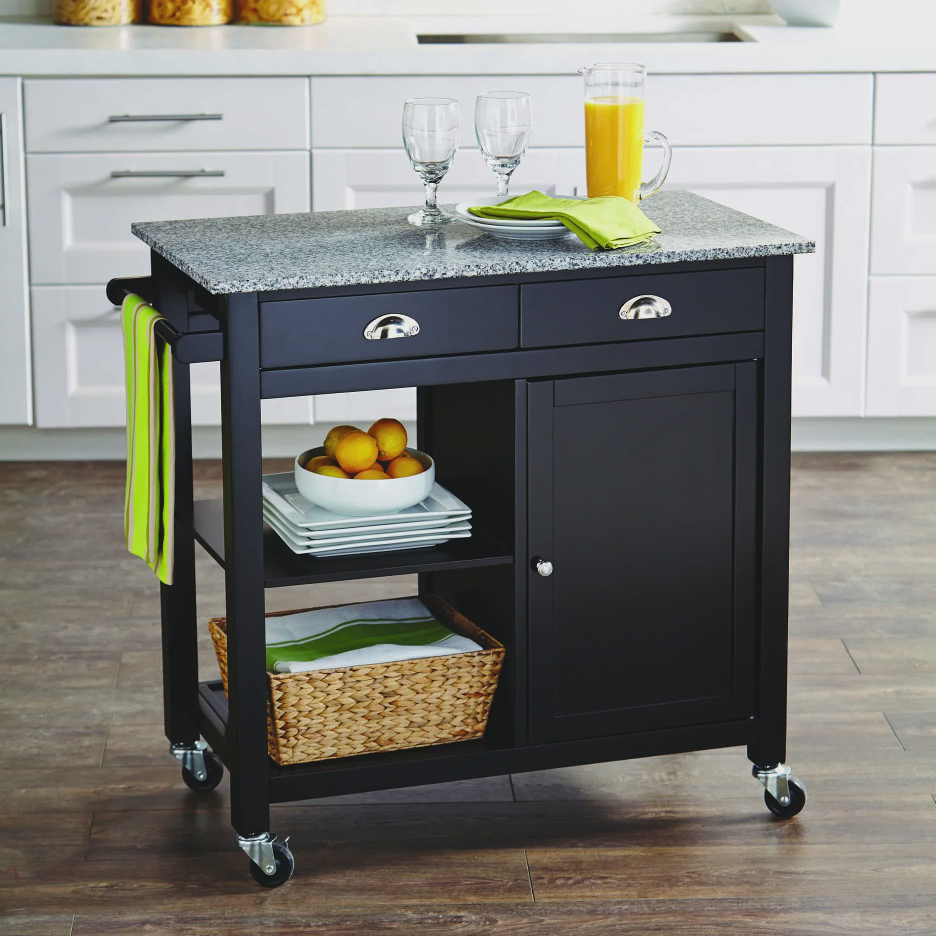 Better Homes and Gardens Kitchen Cart, Black Granite by Sauder Woodworking
