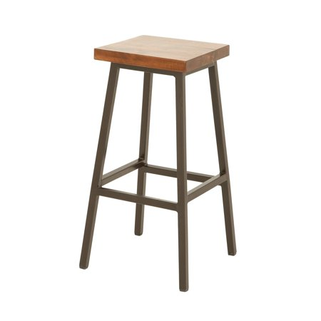 Uma Enterprises Wood Iron 30 In Backless Bar Stool