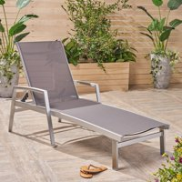 Terrance Outdoor Mesh and Aluminum Chaise Lounge, Gray
