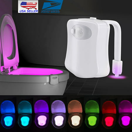 8-Color Toilet Night Light LED Motion Sensing Automatic Toilet Bowl Bathroom ()