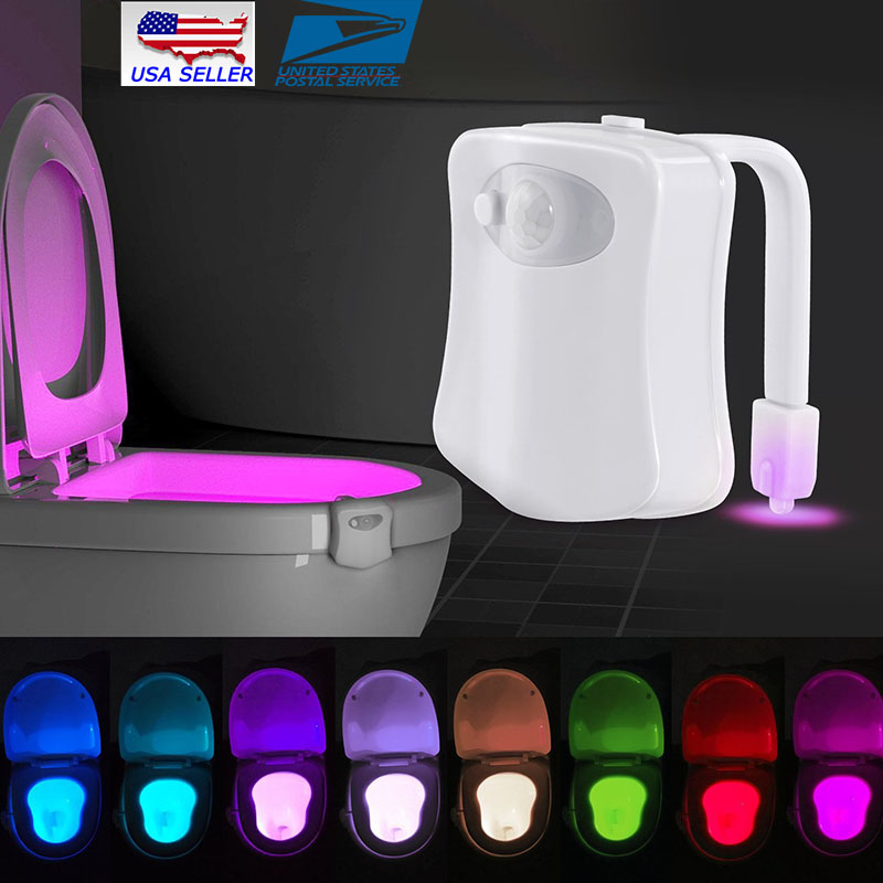 8-Color Toilet Night Light LED Motion Sensing Automatic Toilet Bowl Bathroom