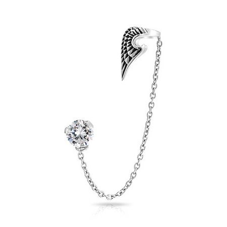 Guardian Angel Wing Feather Cartilage Ear Lobe Helix Earring Warp Chain Ear Cuff CZ Stud Earring Unisex Stainless Steel