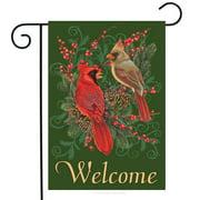 """Cardinals and Pine Winter Garden Flag Welcome Pinecones Berries 12.5"""" x 18"""""""