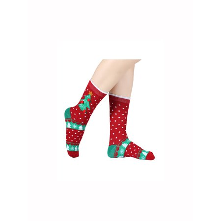 67b9889b0dc Christmas Women s Socks Holiday Cartoon Stretchy Crew 6 Pack - image 1 ...