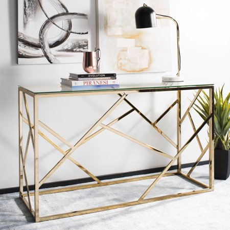 Safavieh Namiko Modern Glam Console Table, Brass/Glass Top Gold Marble Top Console Table