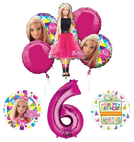 Barbie 6th Birthday Party Supplies and Balloon Bouquet Decorations