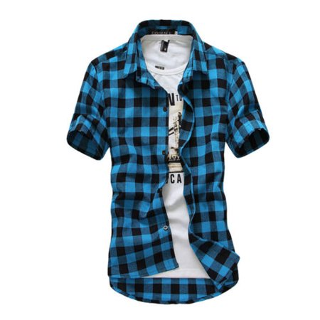 Mens Casual Plaid Short Sleeve Shirts Cotton Button Down Slim Fit Tee Tops