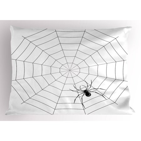 Spider Web Pillow Sham Toxic Poisonous Insect Thread Crawly Malicious Bug Halloween Character Design, Decorative Standard Queen Size Printed Pillowcase, 30 X 20 Inches, Black White, by Ambesonne (Black And White Movie Characters Halloween)