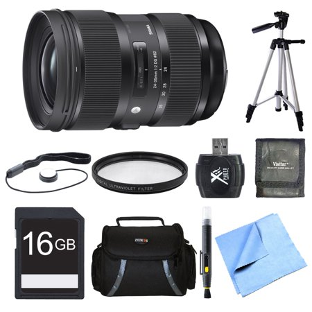 Sigma 24-35mm F2 DG HSM Standard-Zoom Nikon Lens Bundle Includes Lens, 16GB Memory Card, 82mm Filter, Bag, Card Reader, Memory Card Wallet, Cap Keeper, Tripod, Cleaning Pen, and Beach Camera Cloth