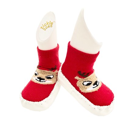 Tickle Toes Holiday Reindeer Baby Socks with Cushion Sole - image 1 de 1