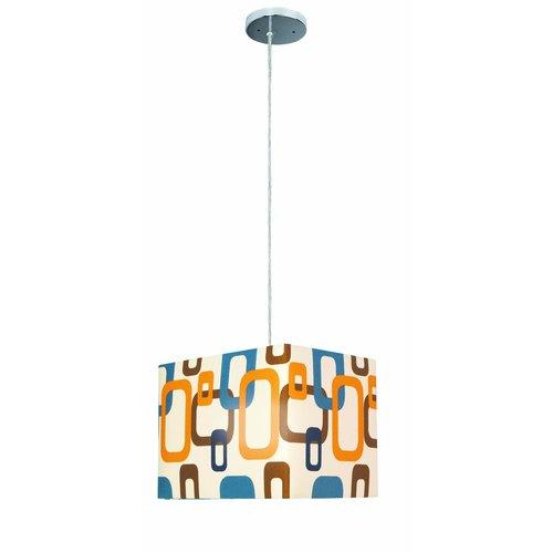 Lite Source  LS-1940  Pendants  Boogaloo  Indoor Lighting  ;Chrome Body Multi Colored Fabric Shade