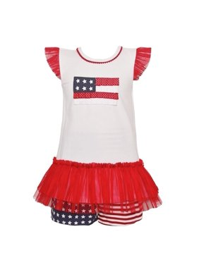 bonnie jean little girls red ruffle american flag 2 pc shorts outfit 3t