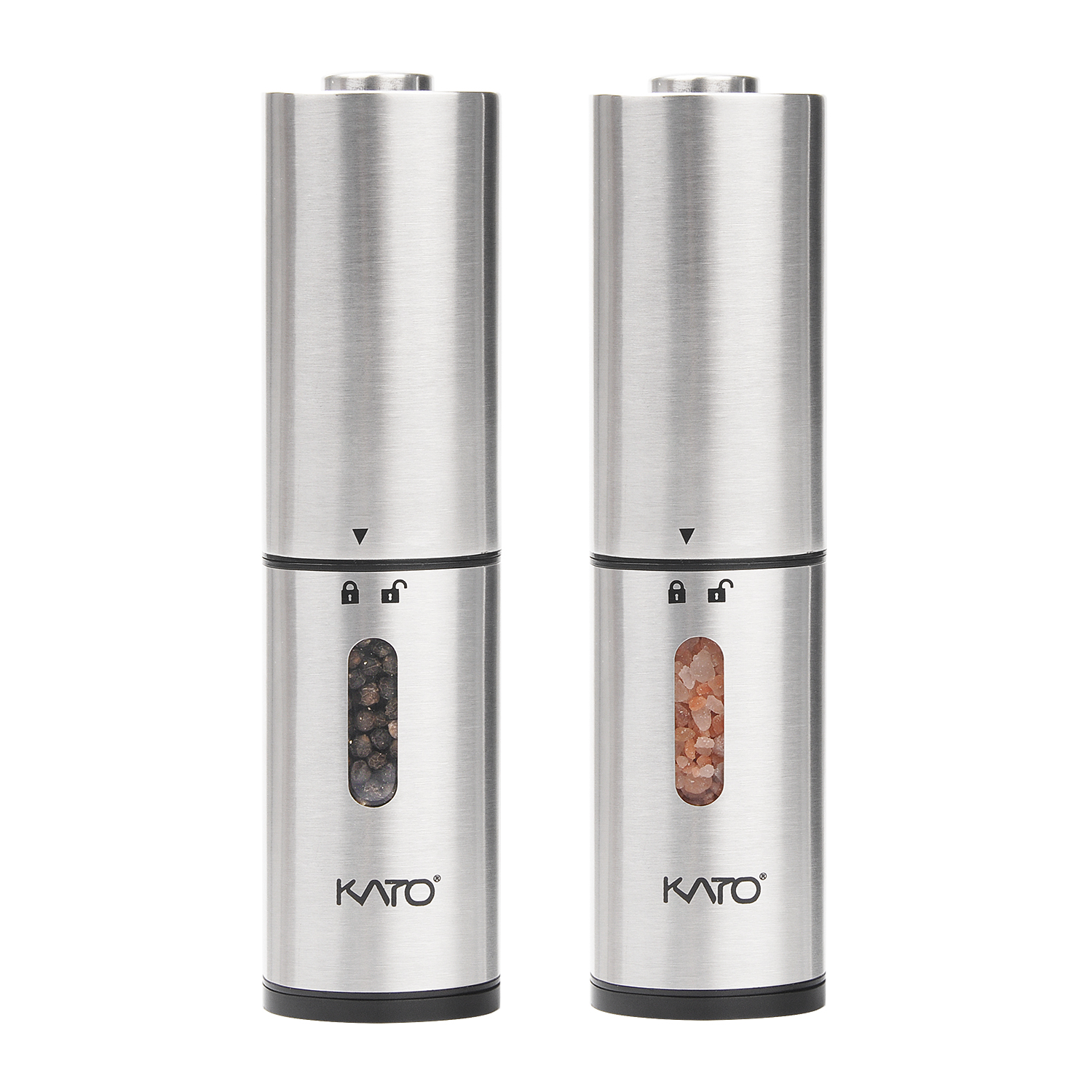 Kato Electric Salt and Pepper Grinder Set - Battery Operated, Stainless Steel, Automatic Pepper Shaker Mill with Led Light and Adjustable Coarseness for Flavor & Seasoning, Pack of 2