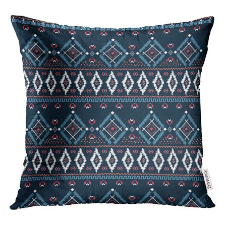 STOAG Blue Border Drawing Tribal Ethnic Pattern Designs and Needlepoint Throw Pillowcase Cushion Case Cover 16x16 inch