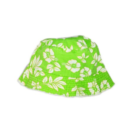 Green White Luau Hawaiian Flowers Power Hippy Costume Hibiscus Bucket Hat ()