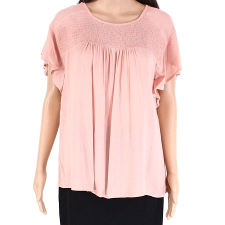 Women's Knit Top Large Shirred Keyhole Pleated Ruffle L Pleated Knit Top