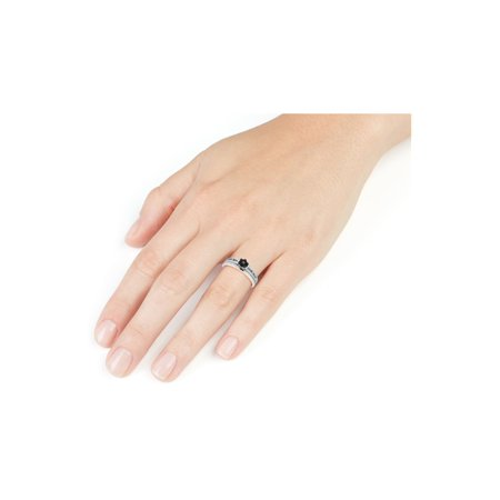 Black Diamond Promise Ring and Matching Band Set in Sterling Silver - image 1 de 2