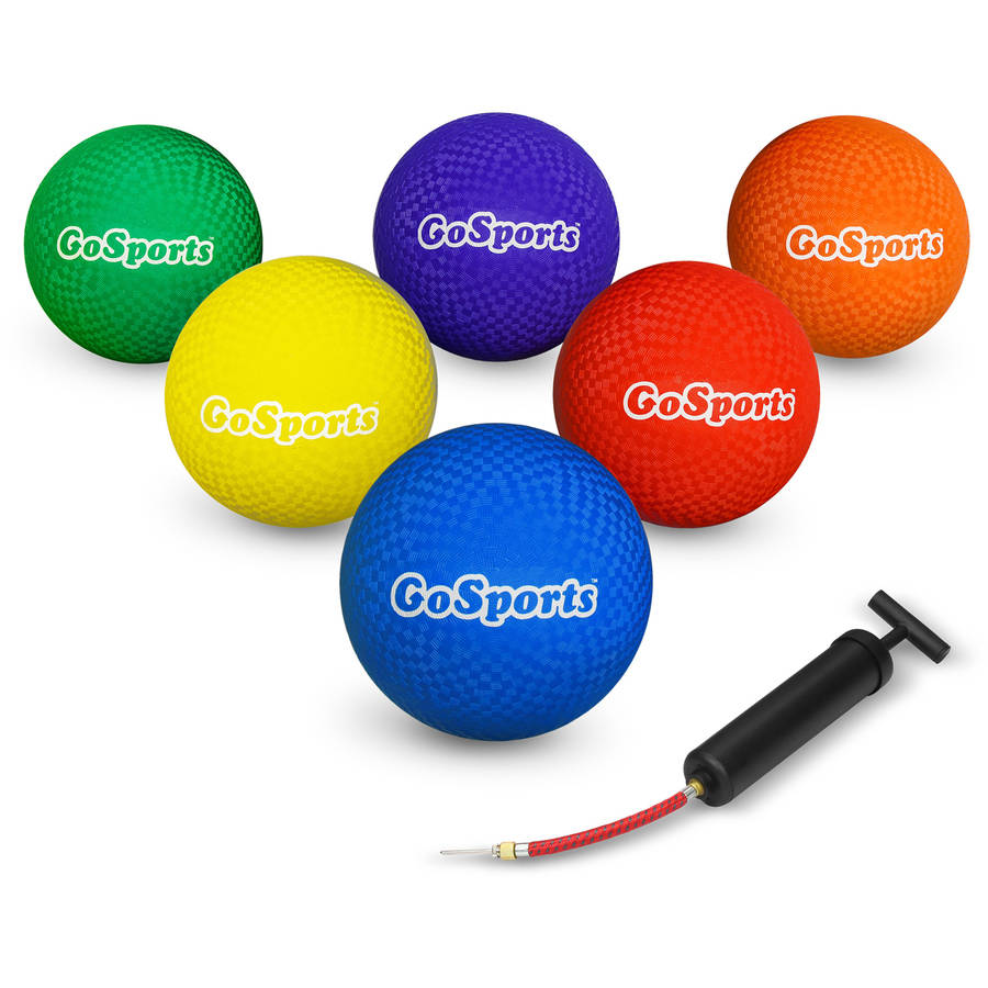 "GoSports Multi-Color Playground Games Ball Set of 6 with Carry Bag and Pump, 8.5"" Size"