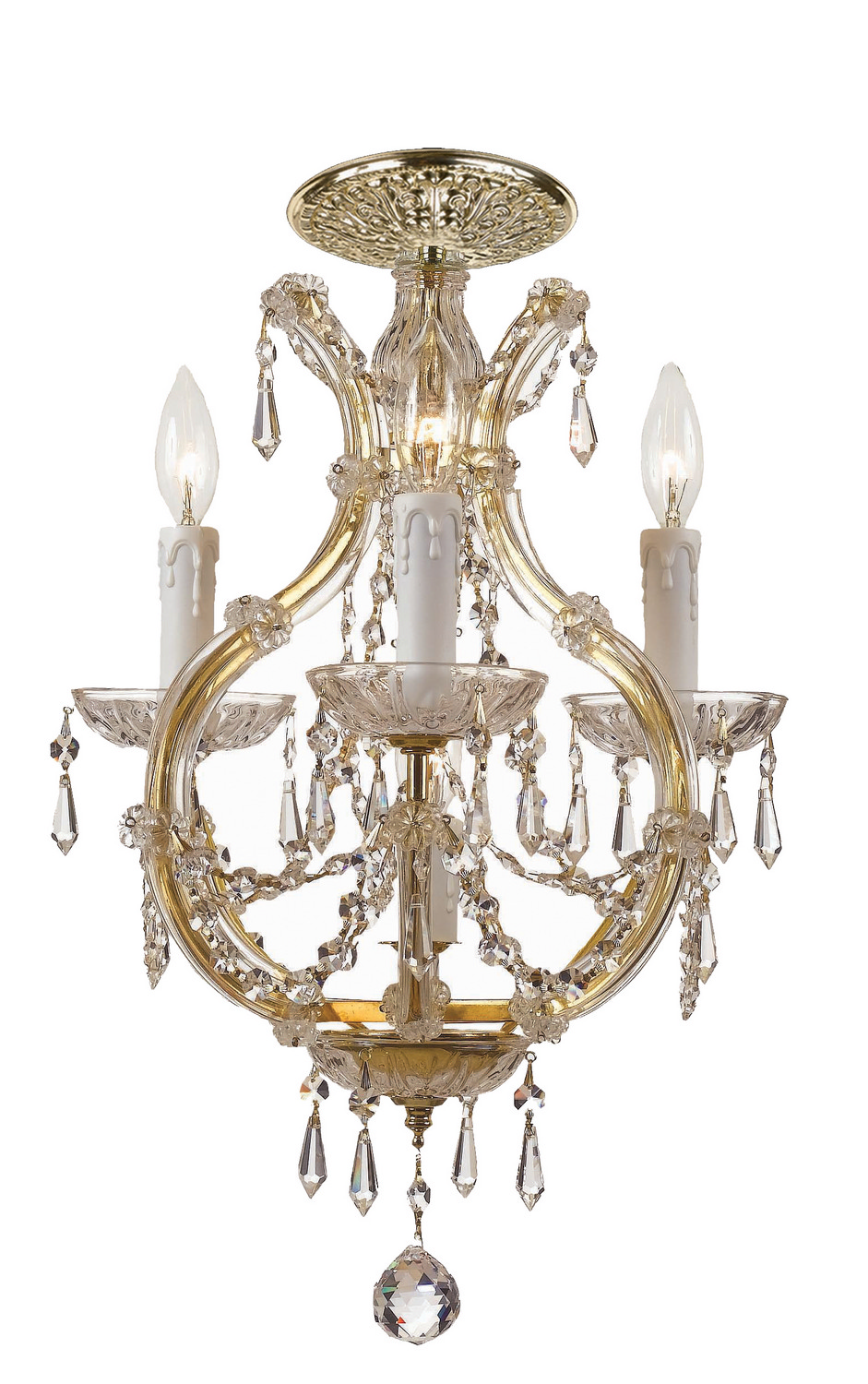 Crystorama 4473-GD-CL-S_CEILING Four Light Flush Mount by Crystorama