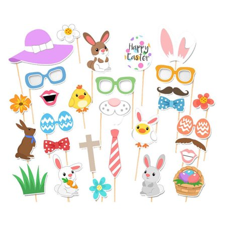 29Pcs Happy Easter Birthday Party Holiday Bunny Egg Basket Photo Picture Booth Props Kit](Easter Clearance)