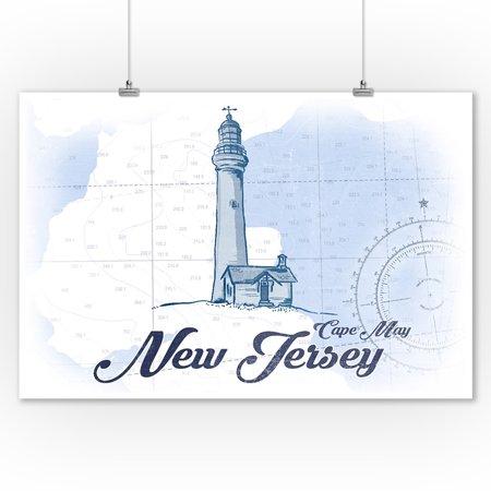 Cape May, New Jersey - Lighthouse - Blue - Coastal Icon - Lantern Press Artwork (9x12 Art Print, Wall Decor Travel Poster)