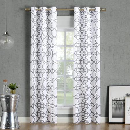 No. 918 Barkley Trellis Semi-Sheer Grommet Curtain Panel ()