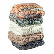 """Silver One Chunky Knitted Throw Blanket, 50"""" x 60"""""""