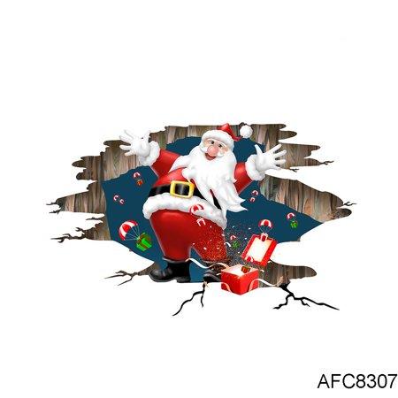 3D View Effect Cartoon Santa Claus Wall Floor Sticker DIY Self-adhesive Decal Wallpaper for Christmas ()
