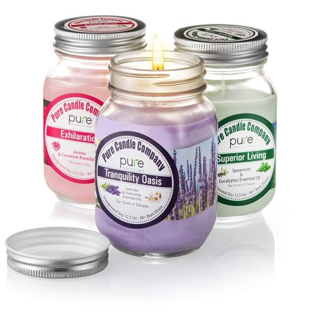 PURE Naturally Scented Aromatherapy Candles Gift Set, 2-Pack Jasmine & Spearmint Essential Oil Soy Candles Large Mason Jar, 12.5 oz. Natural Home Fragrance Candles, Best Gift for (Best Scents For Candle Making)