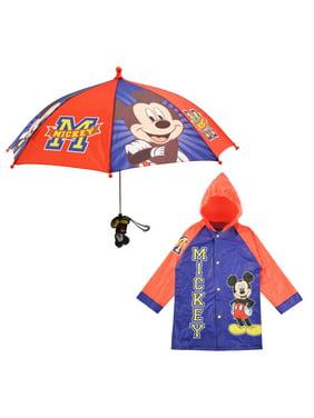 Kids Umbrella and Slicker Set, Mickey Mouse Rainwear Set for Little Boys Ages 2-3