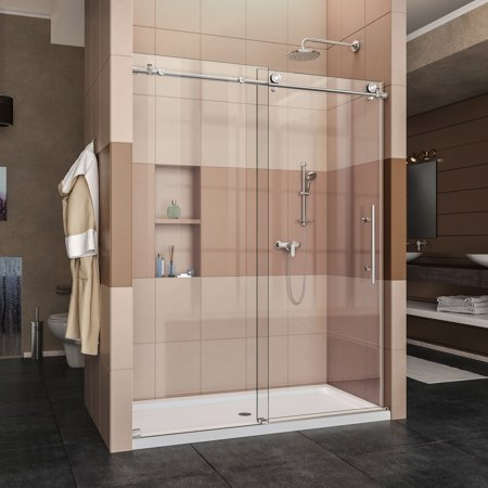 Frameless Bath Shower Doors (DreamLine Enigma-X 56-60 in. W x 76 in. H Fully Frameless Sliding Shower Door in Polished Stainless)