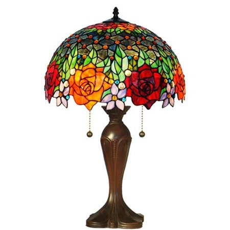(Amora Lighting Amora Lighting AM1534TL16 Tiffany Style Roses Table Lamp 23 In)