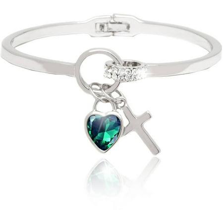- 18kt White Gold over Brass & Swarovski Elements Green Heart & Cross Charm Bangle