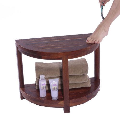 Decoteak Classic Spa Half Moon Teak Shower Bench